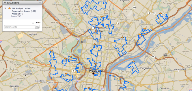 Food deserts in Philadelphia. www.policymaps.com/maps